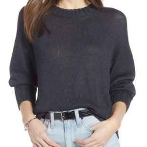 Something Navy Subtle Sheen Sweater Semi Sheer